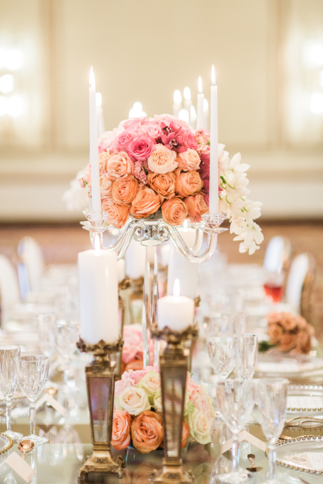 pink and peach rose wedding centerpiece