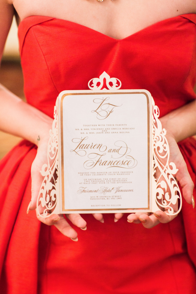 lasercut ivory and gold wedding invite