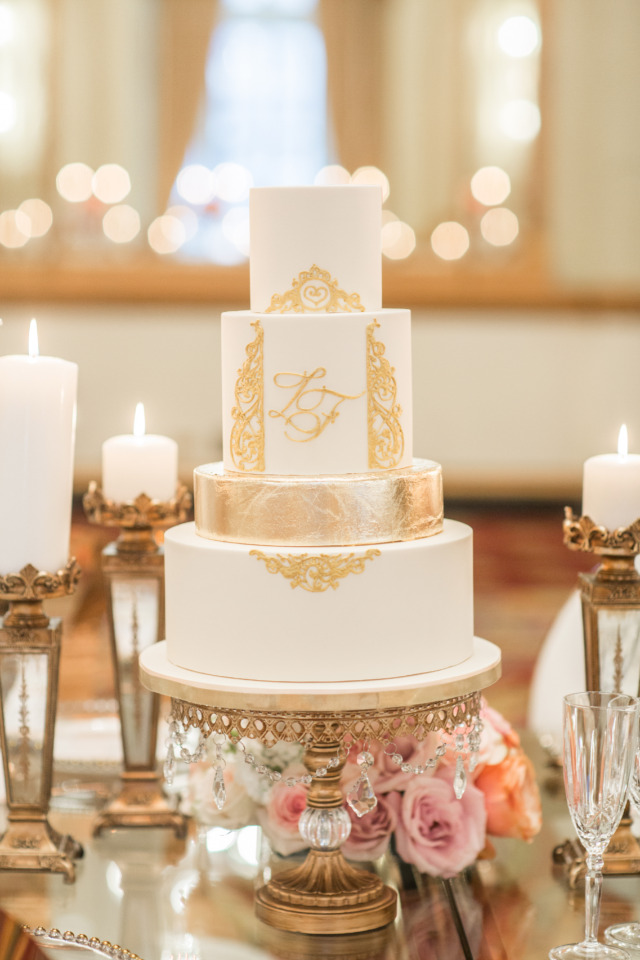 luxe gold wedding cake