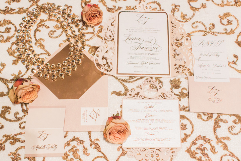 pink ivory and gold wedding stationery suite