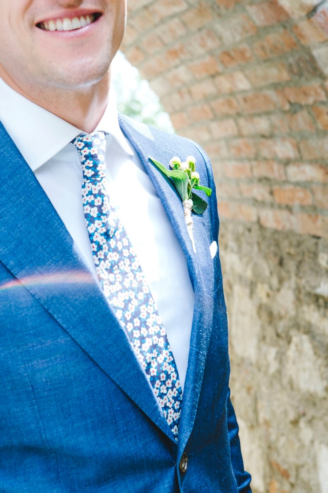 blue and white groom suit