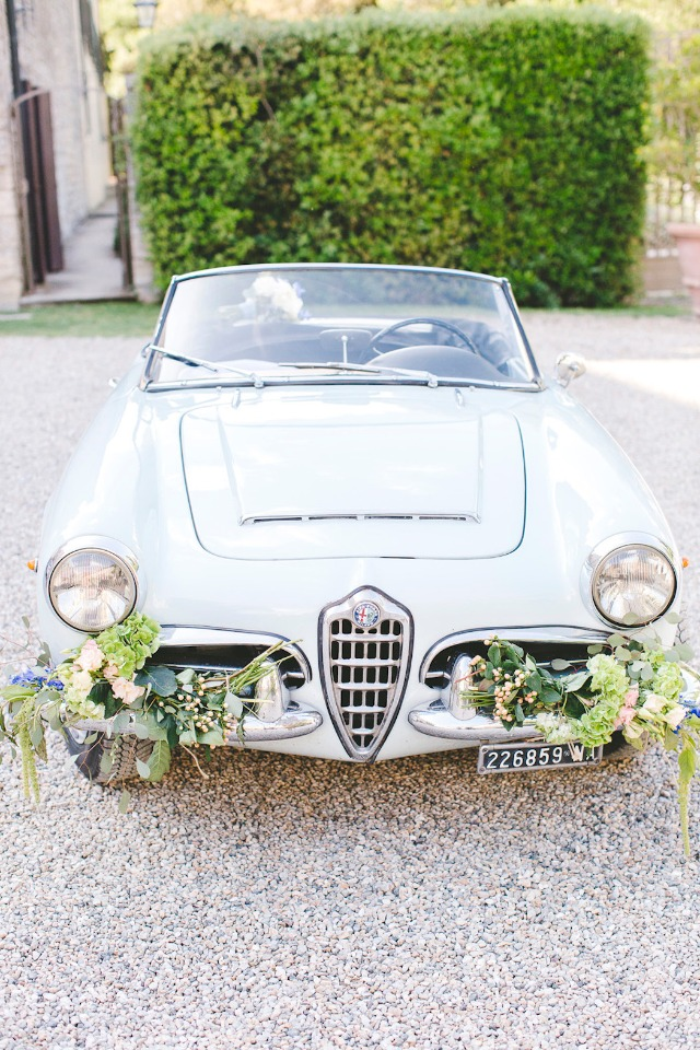 classic baby blue wedding car