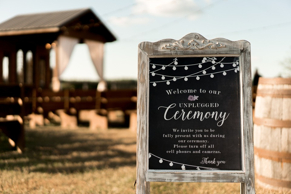 welcome to our unplugged wedding ceremony sign