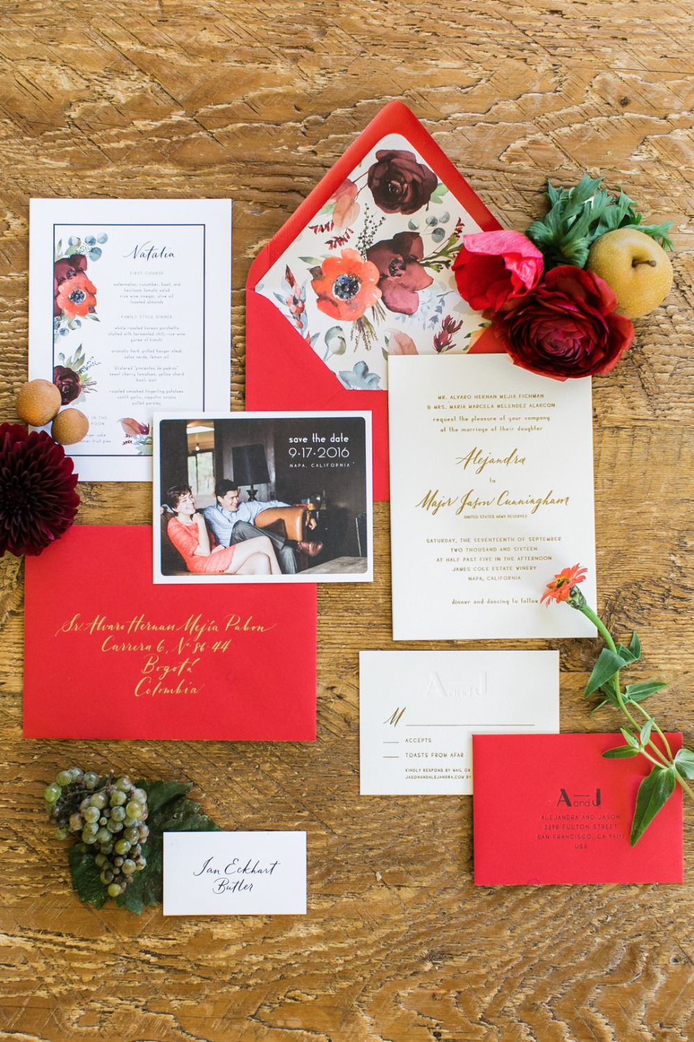 red and gold wedding invitations