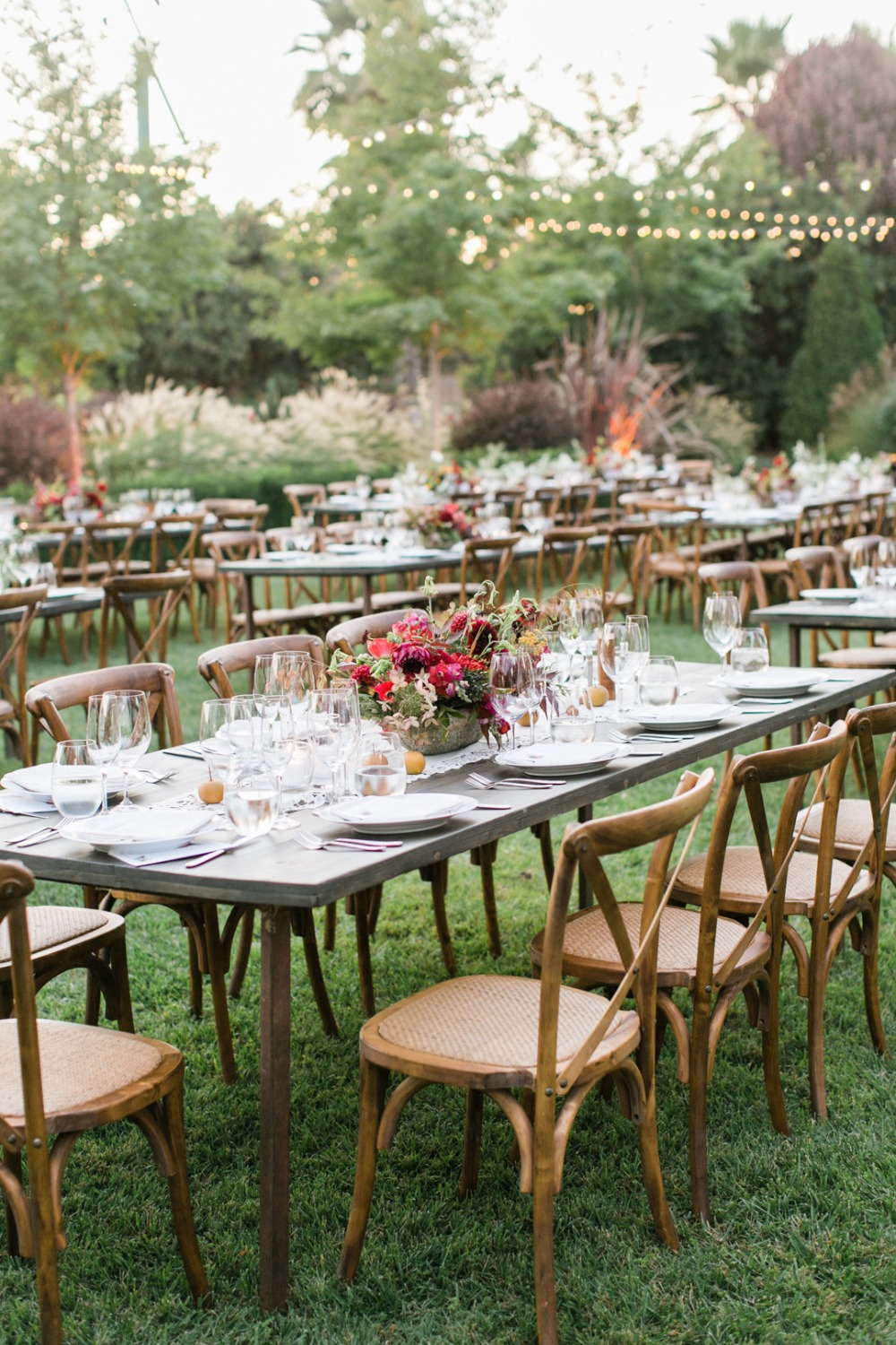 late summer outdoor wedding reception