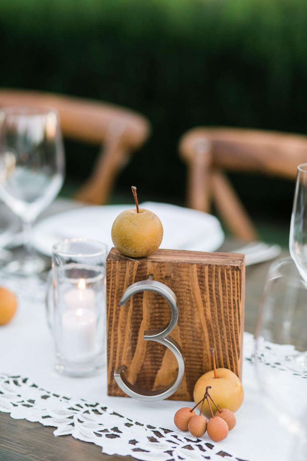 wooden and metal table number