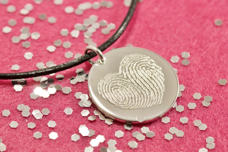 You Complete Me Handcrafted Personalized Fingerprint One Inch Round Necklace.