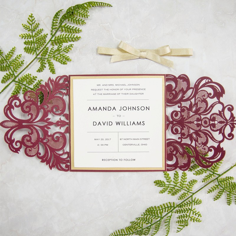 Burgundy and gold glitter laser cut invitation from Stylish Wedd