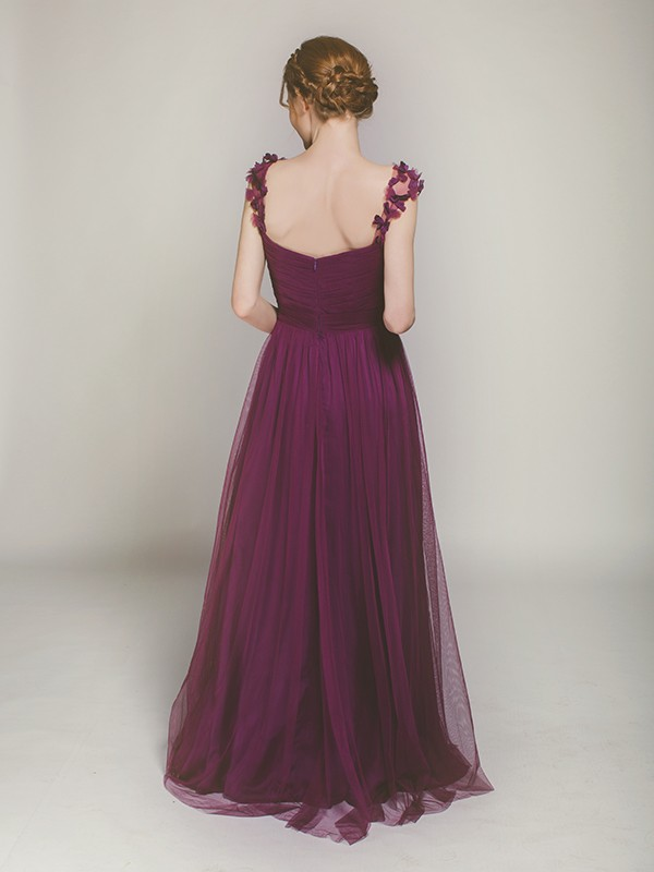 Soft tulle long aubergine bridesmaid gown from Stylish Wedd