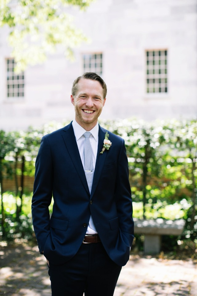 light grey and navy groom suit