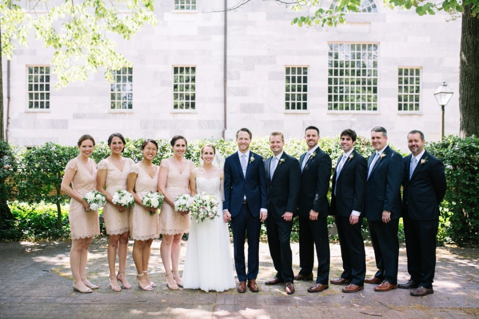 soft peach and navy wedding party