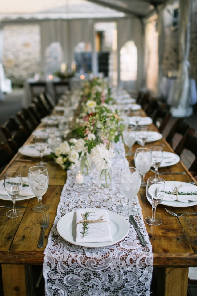 lace runner family style reception seating