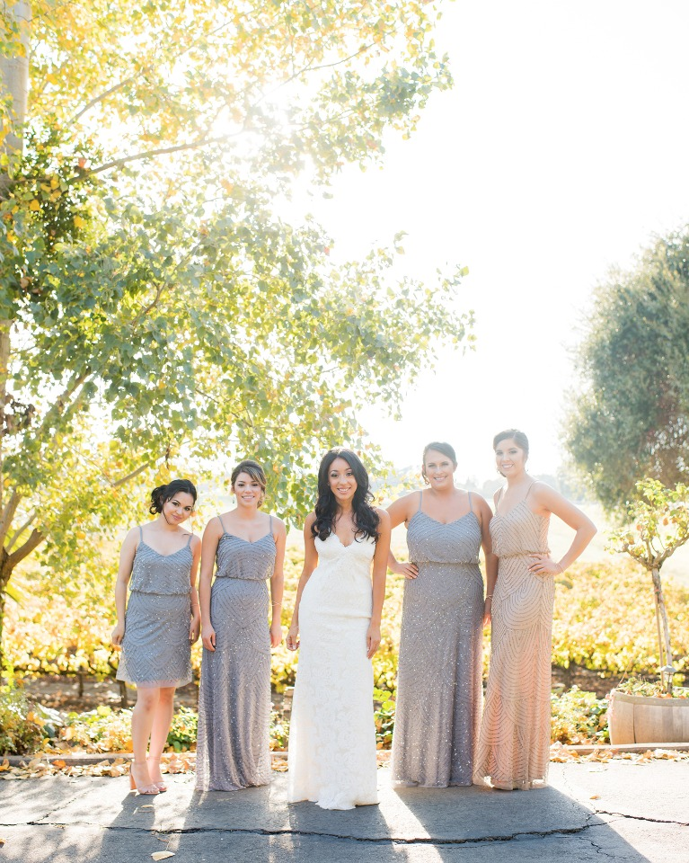 Gray and blush bridesmaid dresses