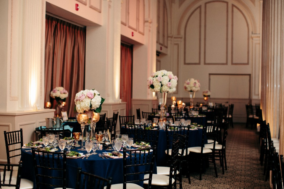 Gold and navy tables