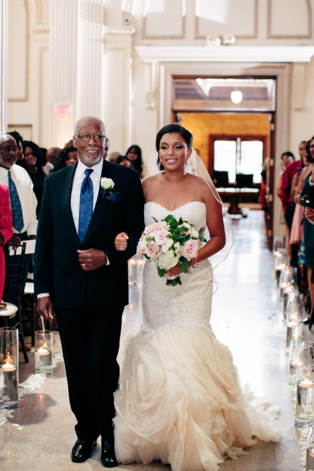 Walking down the aisle in her fathers shoes