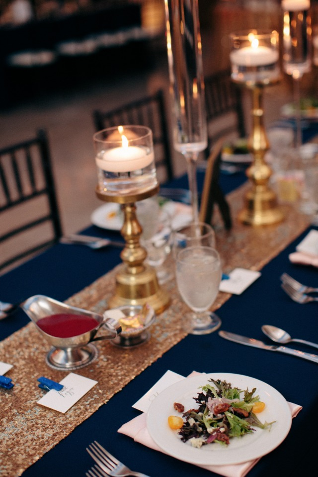 Gold and navy table decor