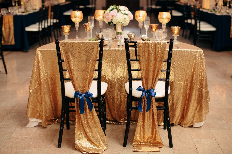 Chairs draped in gold