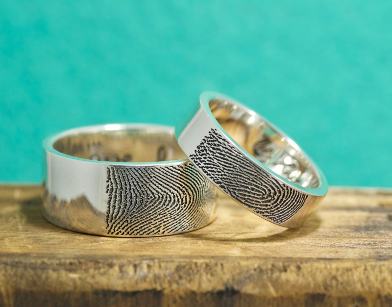 Custom wedding bands with YOUR unique Fingerprint! Handcrafted in Maine shipped all over the world.
