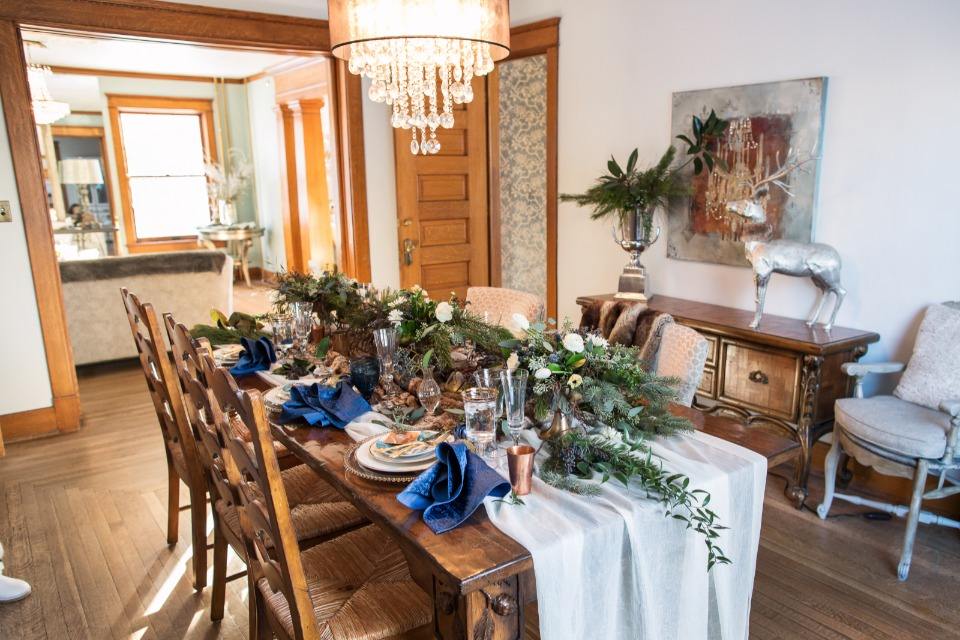 Pretty table scape for a winter wedding