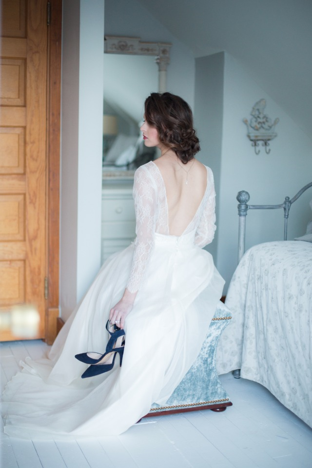 Blue suede shoes for the elegant bride