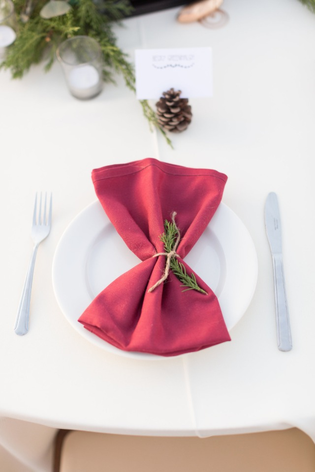 red and green wedding place setting