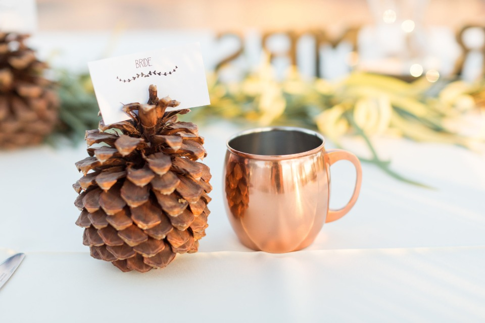 bride placecard holder and moscow mule mug