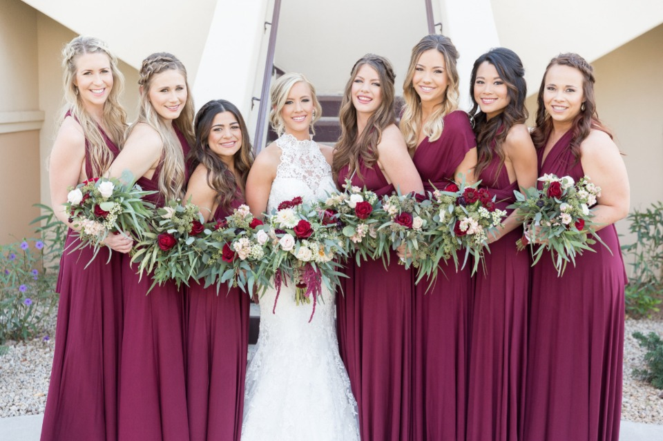 bridesmaids in long wine color dresses from Lulu's