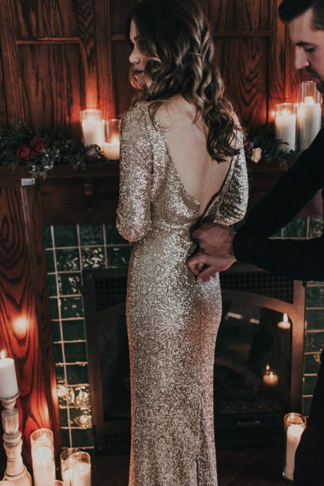 glam gold sequin wedding dress