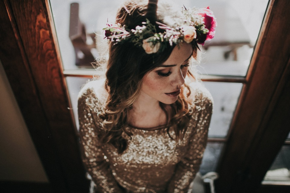 glam boho chic bride in flower halo
