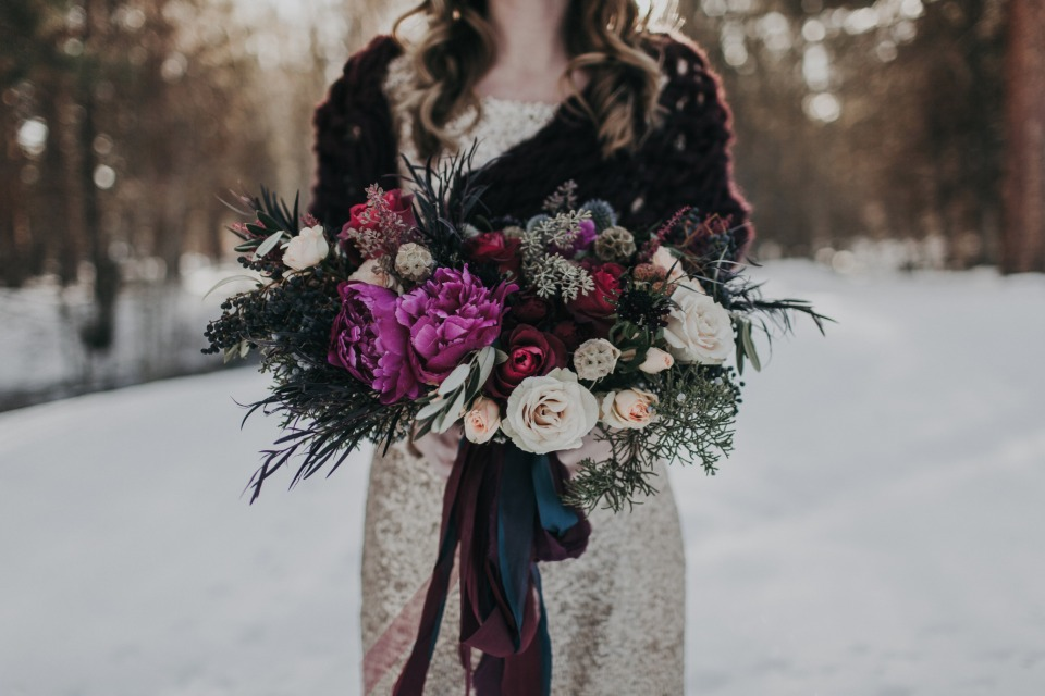 berries, peony, and rose bouquet