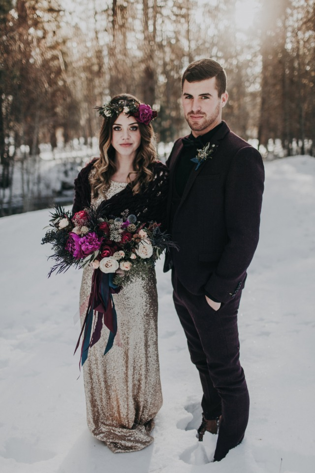 winter time wedding couple