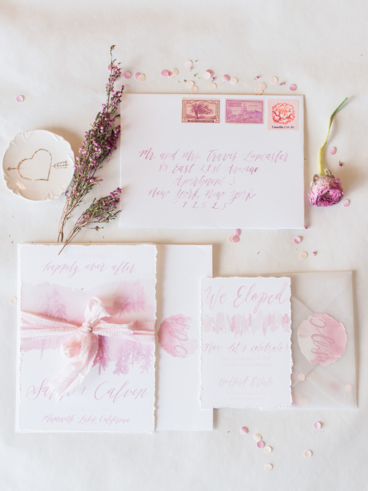 pink watercolor wedding invites