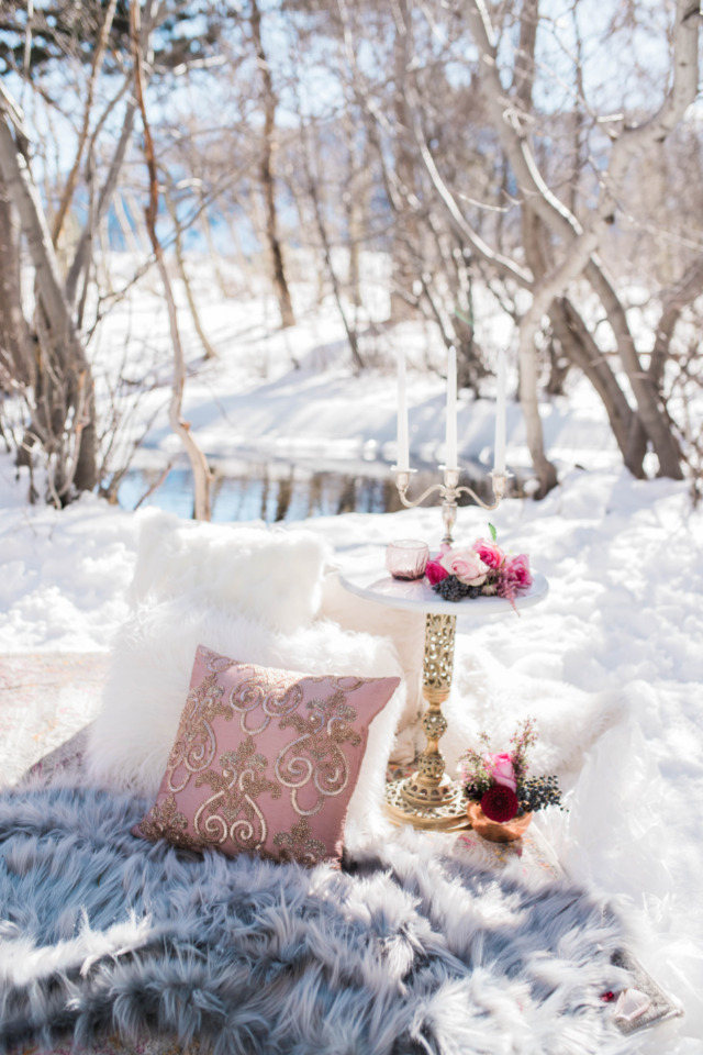 cozy and warm winter picnic seating