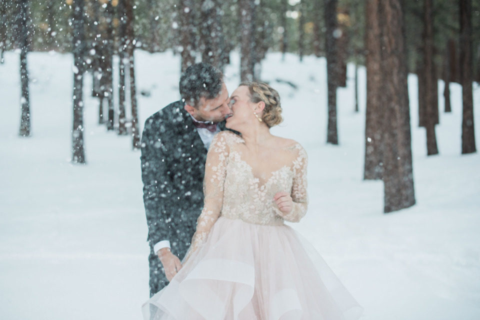 snowy romantic winter elopement