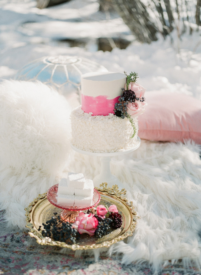 cute wedding cake and marshmallow set up