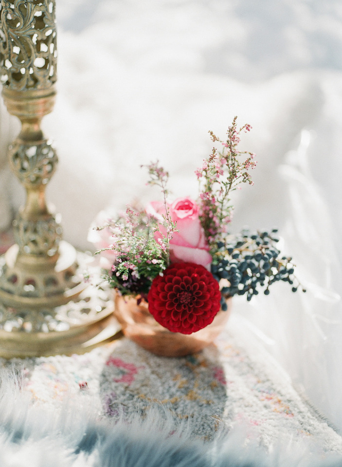 pink and red wedding floral decor