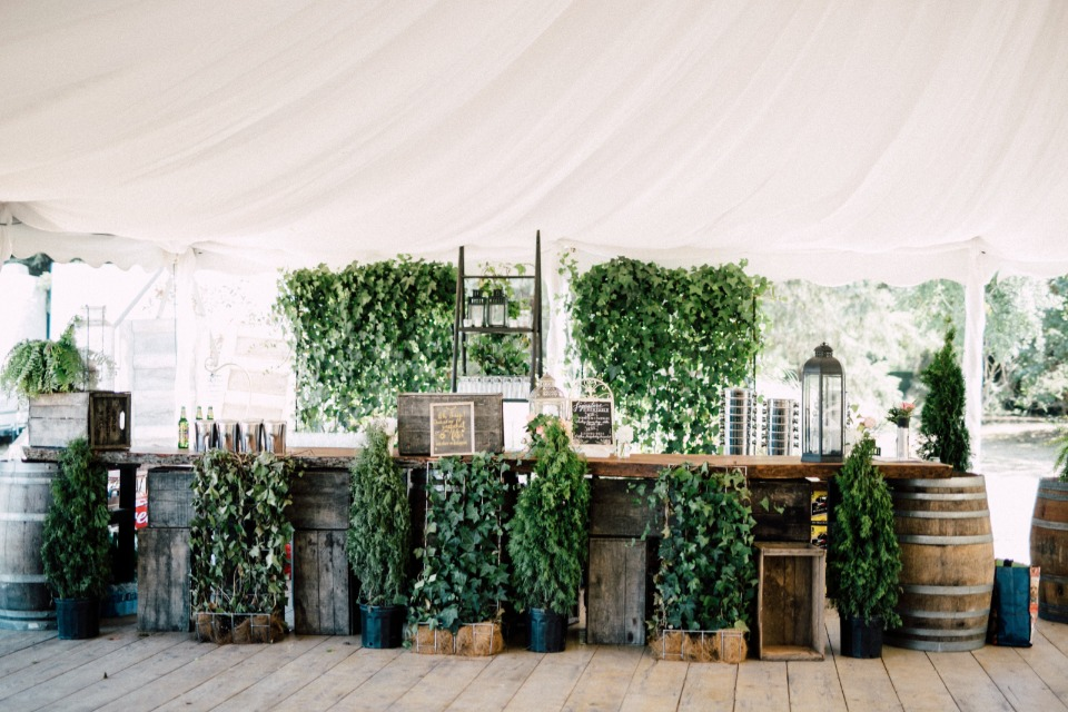 Rustic natural wedding bar