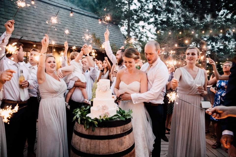 Love this sparkler cutting the cake photo