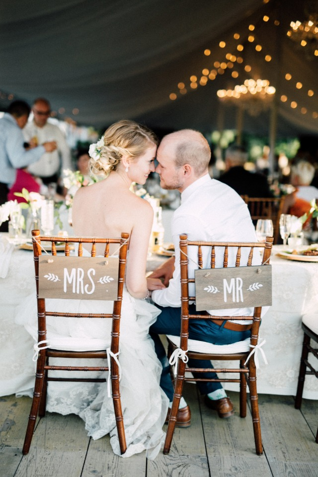 Cute chair signs for the newlyweds