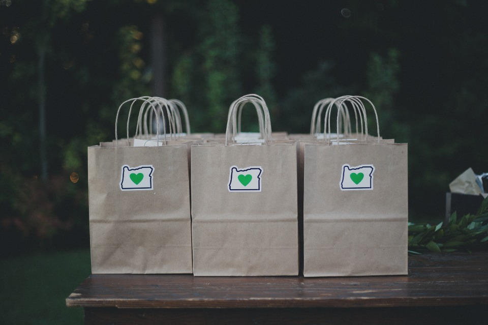 Oregon themed favor bags