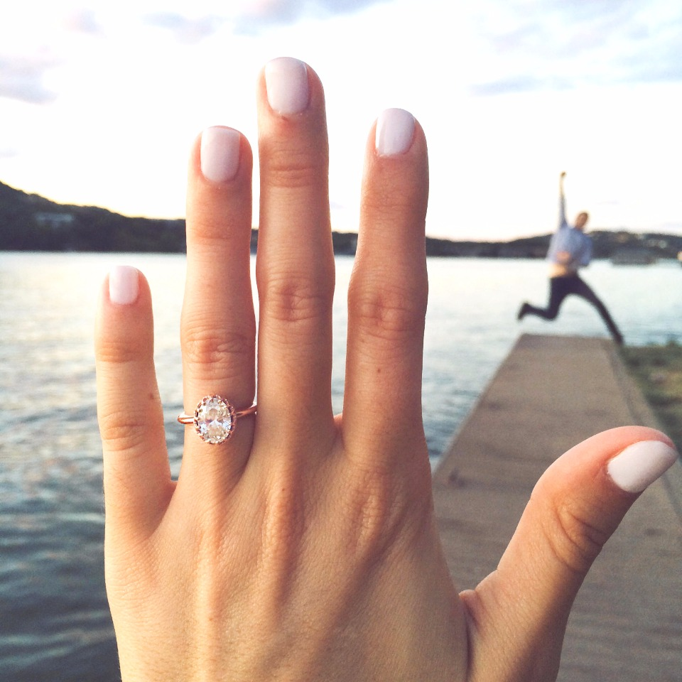 cute engagement photo and ring selfie