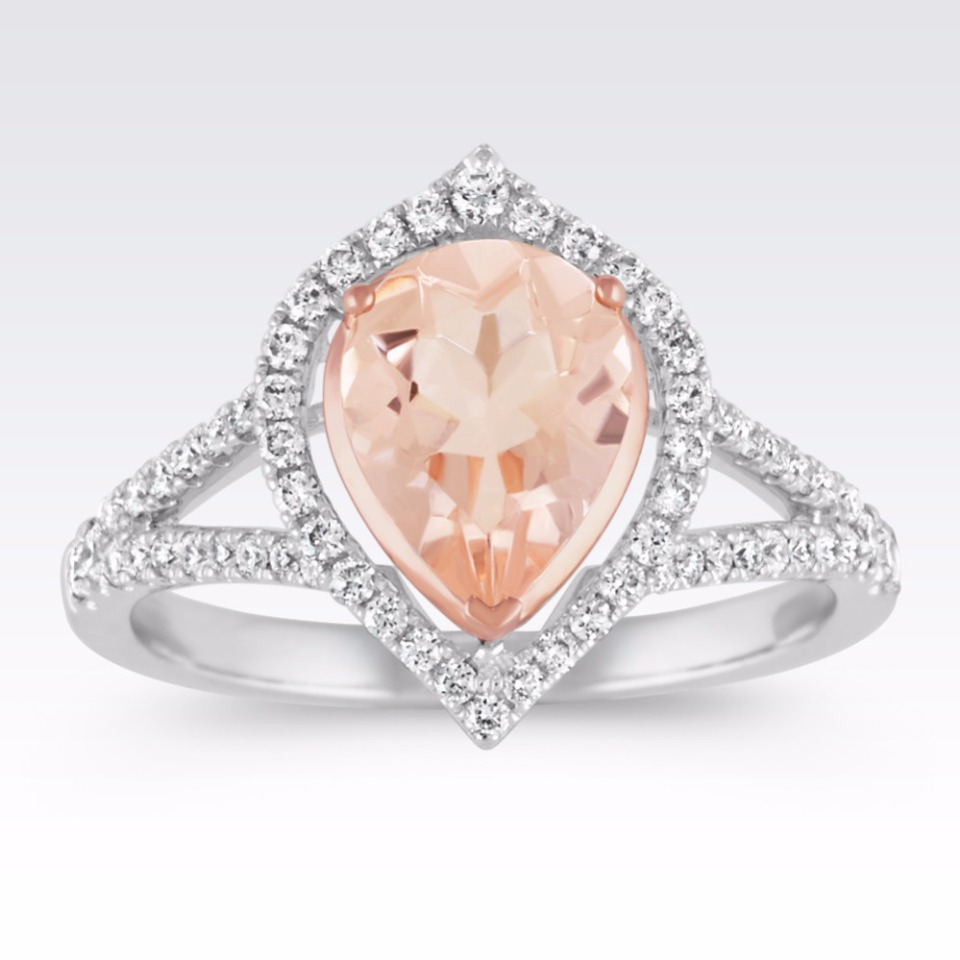 pear shaped pink ring from Shane Co.
