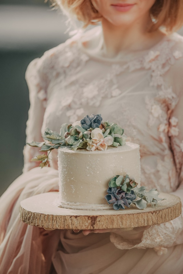 mini wedding cake with sugar flower toppers