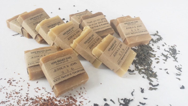 Our Wedding Favor Soaps are made in Maine with natural ingredients and use different fresh brewed organic teas. From start to finish