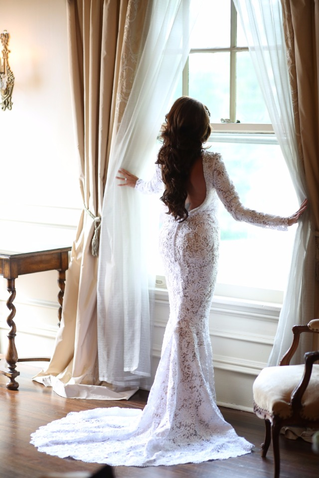 Long sleeve lace Berta gown 53340 from Still White
