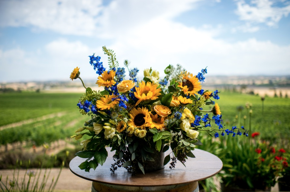 blue and yellow summer wedding flowers