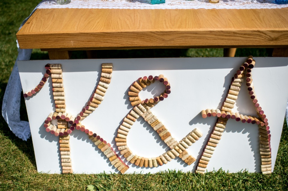 cute cork wedding sign