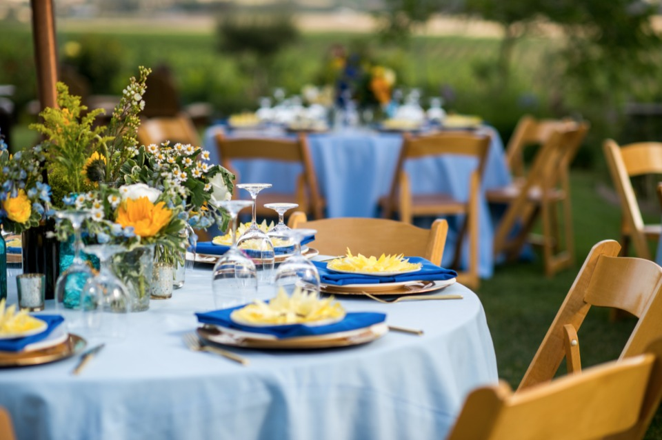 blue and yellow wedding reception