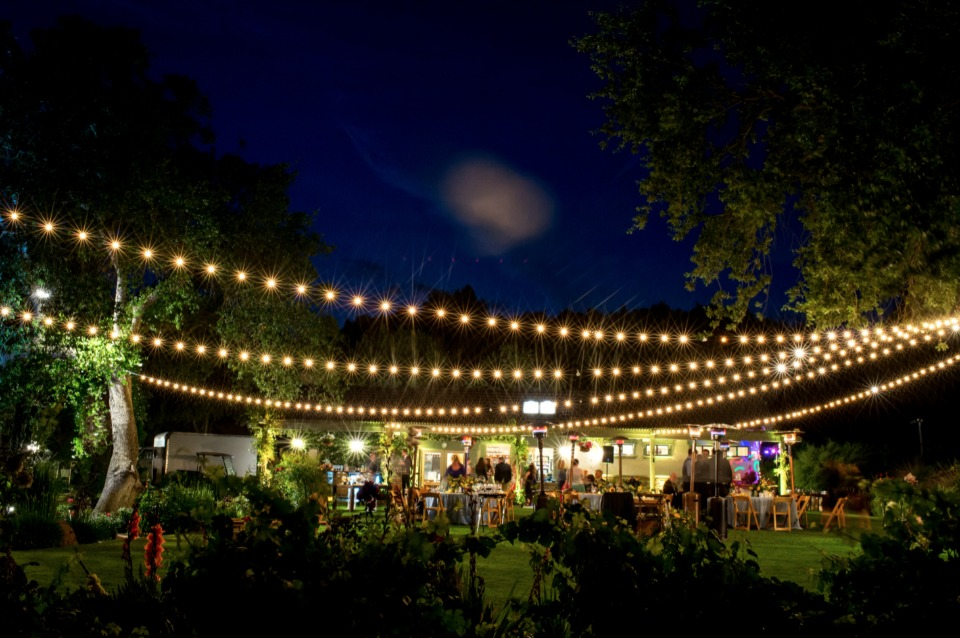 bistro lights lighting up this outdoor wedding reception