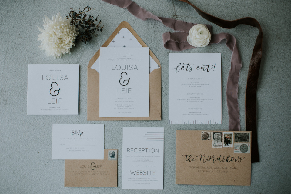white and fraft paper wedding stationery suite